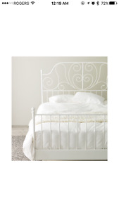 White IKEA queen bed frame and slats
