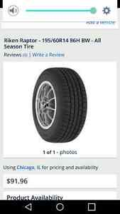 Four Raptor 195/60/r14 tires and rims