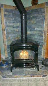 Oil burning porcelain stove