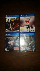 NHL 16-$20, Second Son-$15, Metal Gear Solid V-$10,Injustice-$10