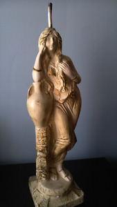 Statue lamp base young woman holding vase