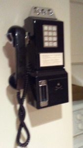 Telephone -  Vintage style /  Wall Phone from phone booth era.