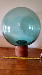 LARGE Antique Blown Glass Fishing Float Buoy Ball + LAMP