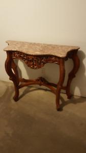 Table console en bois sculpté et marbre - Superbe meuble