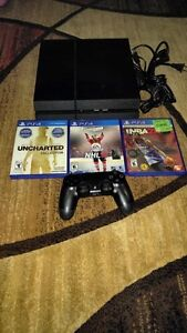 500GB PLAYSTATION 4 INCLUDES BOX + CONTROLLER + 3 GAMES