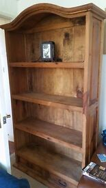 mexican bookcase bought from Range 6ft tall 3 foot wide solid stained pine wood