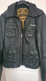 Superdry leather jacket womens size large