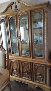Solid wood and glass Hutch