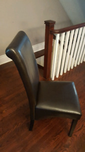 Dining Chairs - set of 6 - brown faux leather $250