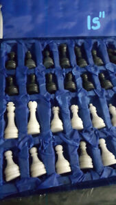 NEW MARBLE CHESS SET 12'' & 15'' with Carry Case