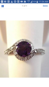 10K amethyst and diamond ring(reduced)