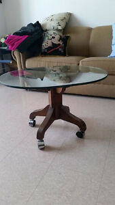 Solid Dark Wood pedestal with glass top COFFEE TABLE