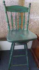 Solid Oak Swivel Bar Stools Painted and Distressed Kitchener / Waterloo Kitchener Area image 2