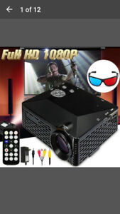 Brand New 1080 Mini Full 3D projector with 3D glasses