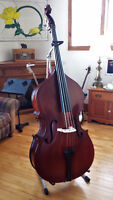 3/4 bass fiddle with stand, bow, and soft bag