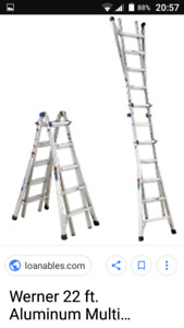 17' and 24' adjustable ladder systems W/10 'aluminium plank.