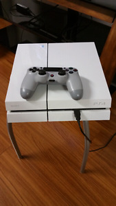 White ps4 with retro controller and nba 2k17