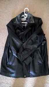 SEARS MEN'S LEATHER JACKET / COAT WITH ZIPPER & REMOVABLE LINER