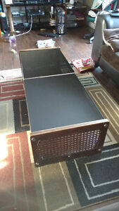 Coffee table and end tables with black Glass