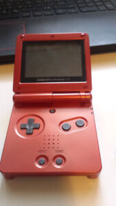 Red Gameboy Advanced SP & Games