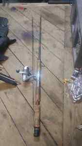5 fishing poles and one reel