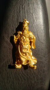 Gold pendant 24k 3d Chinese warrior