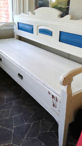 Huge painted primitive antique bench/couch with drawer