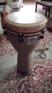 Large Remo Tunable Djembe with backpack carry bag and tuner
