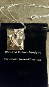 3 Silver WillLand Ribbon Pendants with Swarovski Crystals-$50 ea