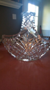 Heavy crystal basket...mint condition