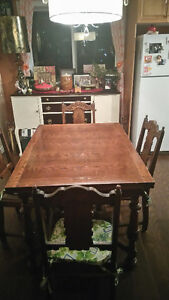 ANTIQUE TABLE SET WITH MATCHING HUTCH St. John's Newfoundland image 1