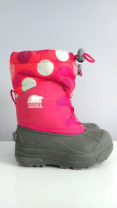 Pink and Gray Sorel Winter Boots, Toddler Girl Size 9