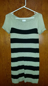 Dynamite Tan and Black Striped T-shirt-Style Sweater Dress