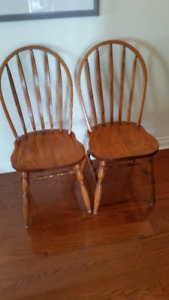Two pedistal Solid Oak Table and Chairs