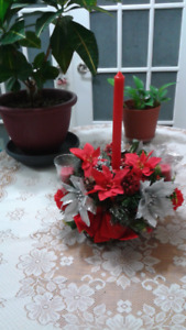 Christmas Centerpiece with candles.