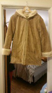 Fur lined winter suede coat in excellent condition