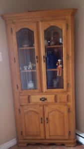 Solid Oak Corner Hutch for Sale