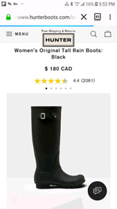 New Condition Womans Original Tall Rain Boots by Hunter brand