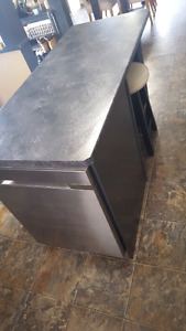 Kitchen island black, with too of the line Samsung dishwasher