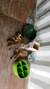 lot of metal vases , pots , pic stands
