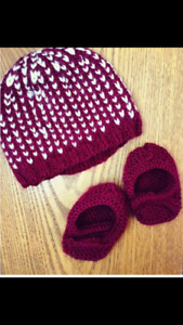 Knitted baby hats and booties