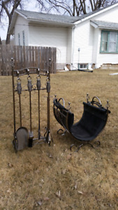 Fireplace tool set & wood carrier