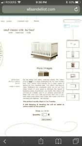 Oeuf Classic Crib with mattress, crib sheets, change table