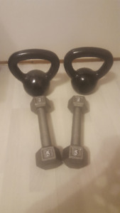 Pairs of 5lbs dumbbells and  10lbs kettlebells.