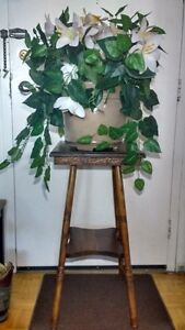 Solid Wood TWO-TIER PLANT TABLE WITH PLANT