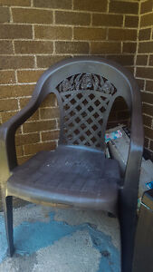 Two Brown Plastic Patio Chairs  - Need gone ASAP