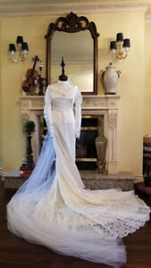 Vintage Handmade Crêpe De Chine and Lace Bridal Wedding Gown
