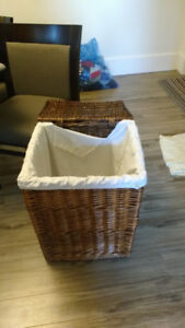 Laundry hamper wicker with cotton bag asking $10