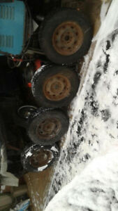 205 75R14 SNOW TIRES ON RIMS IDEAL FOR UTILITY TRAILER
