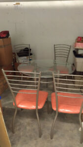 """42""""round glass dining table & 4 chairs set - Julia Table Base"""